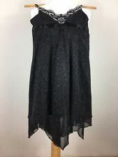 JANE NORMAN LADIES TOP Size 10 - 12 (Label 14 but is a small fit) BLACK GLITZY