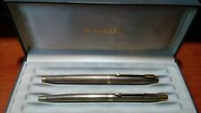 Parker 75 sterling silver vermeil fountain pen and ballpoint set. USA