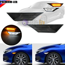 JDM Smoke Lens Switchback 3D Optic LED Sidemarker Lamps For 10th Gen Honda Civic