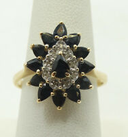 Elegant 14K Yellow Gold Diamond and Sapphire Ring Size 8.5 A3216