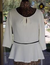 New 3/4 Sleeve Black Trim Flair Waist White Elle Peplum Shirt Sz. L
