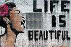 "Banksy, Life Is Beautiful, Graffiti Art, Giclee Canvas Print, 8""x12"""