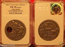 1$ Niue/Poland 2008 -AMBER ROUTE-GDANSK in SLAB- asTiffany and Mineral Art PR 70