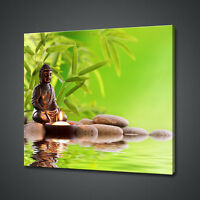 "LARGE 36 X 24/"" FREE P/&P VIBRANT GREEN BROWN ZEN CANVAS WALL ART PICTURE PRINT"