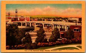 """Wausau, Wisconsin Postcard """"View of the Memorial Bridge"""" DEXTER Linen c1940s"""