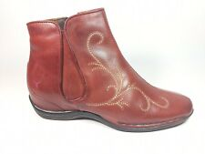 Pikolinos Red Leather Ankle Boots Uk 3 Eu 36