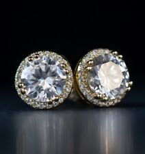 Men's Round Gold Diamond Stud Earrings