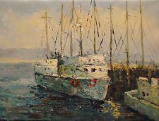 paysage marin bateaux tableau peinture huile sur toile / painting on canvas