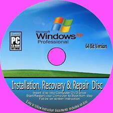 Windows XP Professional 64 bits vuelva a instalar restaurar recuperar Reparación Pc Dvd + SP