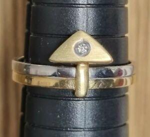 Moderner Ring Gold 750 Gelb Weiß Bicolor Diamant Gr. 56 17,8 3,7 g