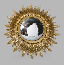 NEW Antique Gold Leaf Mirror Wall Sunburst Starburst Convex Fisheye Round UK