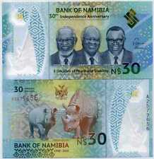 NAMIBIA 30 DOLLARS 1990 - 2020 30TH P NEW POLYMER COMM. RHINO UNC