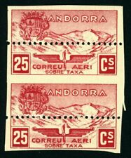 J172 SPAIN ANDORRA #NE13dx (2). 25 CTS AIR MAIL NOT ISSUED. PAIR. MNH**.