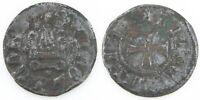 1450-1462 Campobasso Billon Tornese Coin F+ Molise Italy Nicola II di Montforte