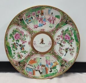 Antique Chinese Rose Medallion Export 1800s Plate Porcelain Spectemur Acendo !