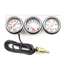 Universal 2'' 52mm Chrome Volt Water Oil Pressure Triple 3 Gauge Set Gauges Kit
