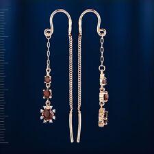 Russian solid rose gold 585/14k threader garnet, CZs earrings Beautiful!