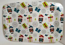 Nutcracker Present Bird Snowflake Serving Tray '16 Christmas Platter Plate 14x10