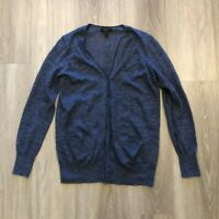 J Crew Womens Small Blue Linen Polyester Long Thin Cardigan Front Pockets
