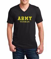 Men's V-neck Army Veteran T Shirt Soldier Veteran US United States Tee Military