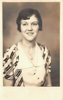 1930s RPPC Real Photo Postcard Art Deco Lady Fashion Dress