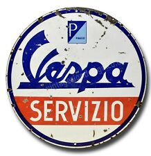"VESPA SERVIZIO 11"" ROUND METAL SIGN. VESPA GARAGE SIGN / MAN CAVE SIGN / MODS."