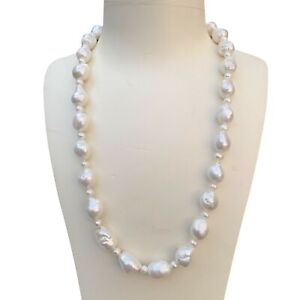 Elegant Baroque Drop Kasumi Freshwater Nature White Pearl necklace 56cm AAAA 190