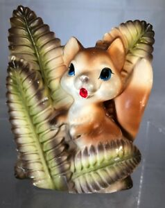 Vintage Fox or Chipmunk Behind Bushes Figurine