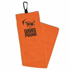 """CLEVELAND BROWNS EMBROIDERED GOLF TOWEL WITH CARABINER 15""""X25"""" HIGH QUALITY"""