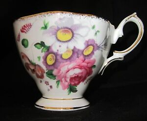 Royal Albert Lady Angela Pattern# 84921 Footed Tea Cup Teacup Pink Flowers Gold