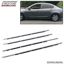 For Accord 2008-2012 Chrome Weatherstrip Window Moulding Trim Seal Belt 4Pcs (Fits: Honda)