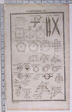 1788 diagramas de curva de impresión original brújulas elíptica polígono Cubo hipérbola