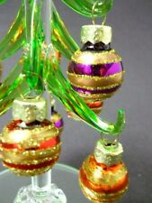 New Glass Christmas Tree with Colorful Striped Glitter Ornaments Mirror Base Box