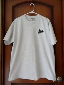 Mens BMW Motorcycle Short Sleeve Gray T-Shirt  Embroidered Boxer on Chest SZ XL