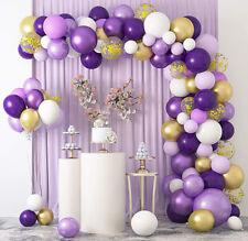 129Pcs Purple Balloons Arch Garland Kit Wedding Birthday Graduation Party Decor