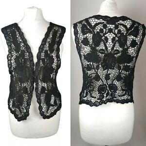 Next Women Top Waistcoat Crochet Knit Beige Festival Summer Blogger Floral S 10