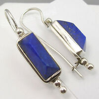 925 Silver LAPIS LAZULI PYRAMID Gemstone Earrings 1.5""