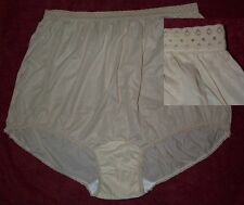 3 Pair Size 12 Beige EMBOSSOLON Nylon Panties Lace Top & leg USA Made