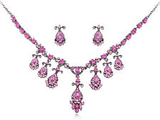 Fuchsia Rose Pink Princess Cascade Crystal Rhinestone Dress Necklace Earring Set
