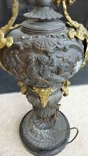 AMAZING Large Spelter and Bronze Table Lamp - Raised Figural Details