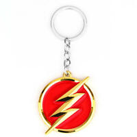 The Flash Lightning Keychain Red Gold Logo Key Ring Key Holder Fashion Jewelry