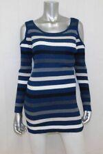 MOTHERHOOD MATERNITY NWT Blue/White/Black/Gray/Tan Cold Shoulder Shirt sz L