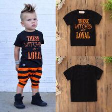 Halloween Toddler Newborn Kids Baby Boys Letter Print Shortsleeve Tops Clothes