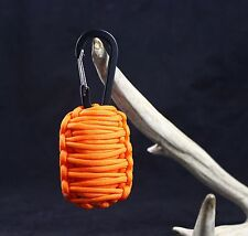 Paracord Survival Grenade Carabiner with 15 + TOOLS (ORANGE) FLINT + KNIFE