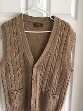 Vintage THANE Button Up 100% Shetland Wool Sweater Vest Mens Beige Sz.Large