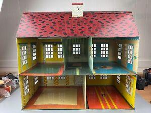 """Vtg  Marx 1960s Tin Dollhouse 22""""x20""""x12"""""""