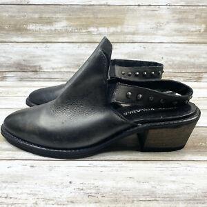 Very Volatile Adamo Mules Clogs Size 9 Black Leather Almond Toe Slingback Shoes