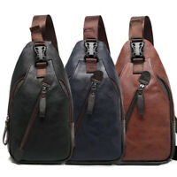 Men's Leather Sling Pack Chest Shoulder Crossbody Bag Backpack Biker Satchel