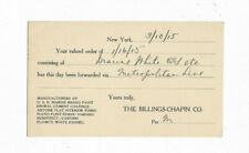 1915 The Billings-Chapin Co - New York, NY Canceled Postal - Paint Order