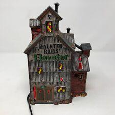 Dept. 56 Halloween Village Haunted Rails Grain Elevator Lighted w/ Box Snow